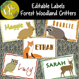 EDITABLE Woodland Animal Name Tags, Labels, 5 Different Forest Critters