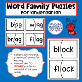 EDITABLE Word Family Puzzles for Kindergarten