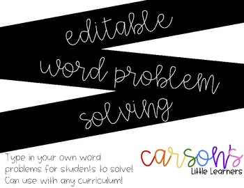 EDITABLE - Word Problem Helper