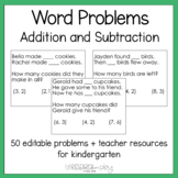 Editable Kindergarten Word Problems: Addition and Subtraction