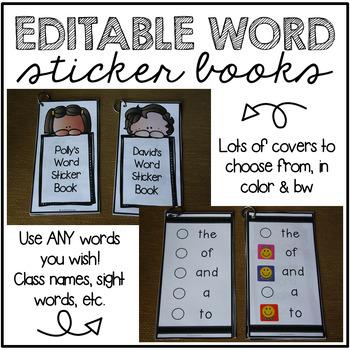 EDITABLE Word Sticker Books
