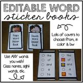 EDITABLE Word Sticker Books | Sight Words, Spelling Words,