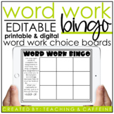 EDITABLE Word Work Bingo Card Template