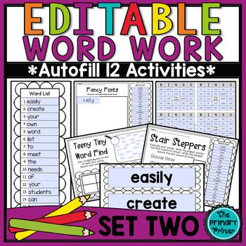 EDITABLE Word Work SET TWO
