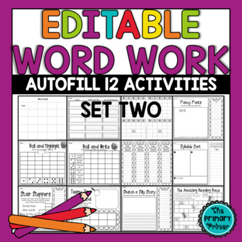 EDITABLE Word Work SET TWO