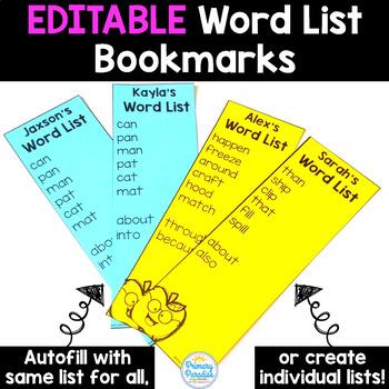 EDITABLE Word Work Word List Bookmarks