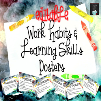 EDITABLE Work Habits and Learning Skills Posters FREEBIE