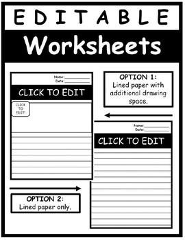 EDITABLE Worksheet Templates