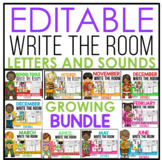 EDITABLE Write the Room for Letters and Sounds Growing Bundle
