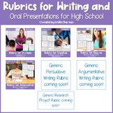 EDITABLE Writing Rubrics & Oral Presentation Rubric GROWING BUNDLE for 9th-12th