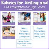 EDITABLE Writing Rubrics & Oral Presentation Rubric GROWING BUNDLE for 9th-12th
