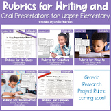 EDITABLE Writing Rubrics and Oral Presentation Rubric GROWING BUNDLE for 3rd-5th