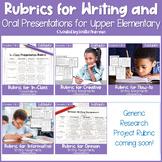 EDITABLE Writing Rubrics and Oral Presentation Rubric GROWING BUNDLE for 3rd-5th