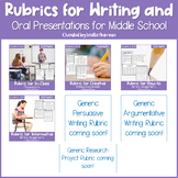 EDITABLE Writing Rubrics and Oral Presentation Rubric GROWING BUNDLE for 6th-8th
