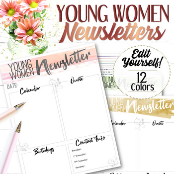 EDITABLE YW Newsletters - Instant Download
