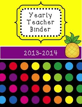 *EDITABLE * Yearly Teacher Binder {Neon Dots}