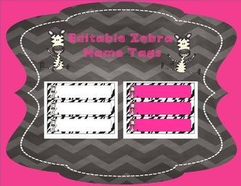 Editable Zebra Name Tags