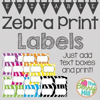 EDITABLE Zebra Print Labels 2x2