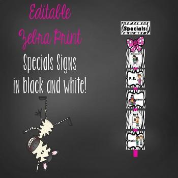 Editable Zebra Specials signs