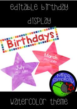 EDITABLE birthday display ~  watercolor theme display