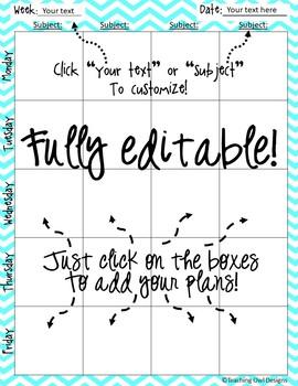 EDITABLE chevron lesson plan template or planner!