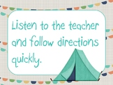 EDITABLE classroom rules - Turquoise Camping