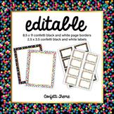 EDITABLE confetti labels and confetti page border | black