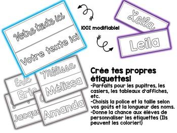 EDITABLE desk name tags, Étiquettes de prénoms MODIFIABLES