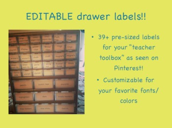 "EDITABLE drawer labels for ""Teacher Toolbox"""