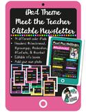 EDITABLE iPad Theme Meet the Teacher Newsletter