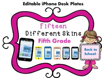 EDITABLE! iPhone Themed Back-To-School Desk Plates Fifth Grade