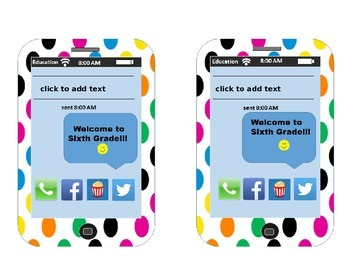 EDITABLE! iPhone Themed Back-To-School Desk Plates Sixth Grade