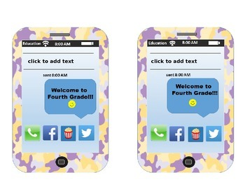 EDITABLE! iPhone Themed Back-to-School Desk Plates Fourth Grade