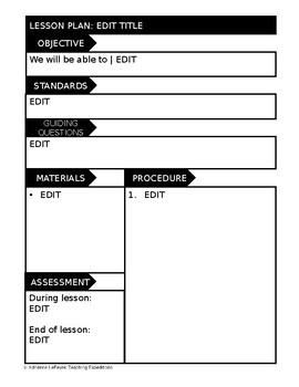 EDITABLE lesson plan templates- GOOGLE DRIVE compatible