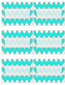 EDITABLE light blue chevron name tags or labels