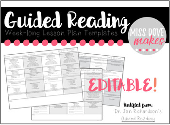 EDITABLE ll Week-long Guided Reading Lesson Plans