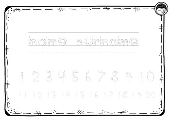 EDITABLE name numbers to 20 TRACING TEMPLATE K PP Prep BALL & STICK font
