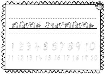 EDITABLE name numbers to 20 TRACING TEMPLATE K PP Prep SOUTH AUS font