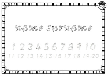 EDITABLE name numbers to 20 TRACING TEMPLATE K PP Prep VIC MOD CURSIVE font