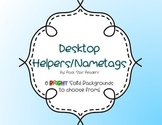 EDITABLE name tags / desktop helpers - Bright Colored Backgrounds