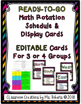EDITABLE or Ready to Go Math Rotation Schedule & Signs