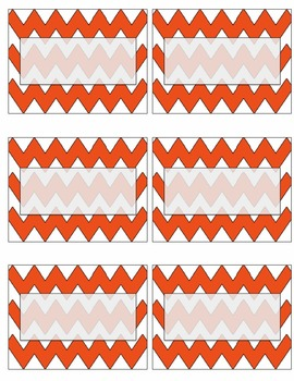 EDITABLE orange chevron name tags or labels