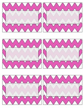 EDITABLE pink chevron name tags or labels