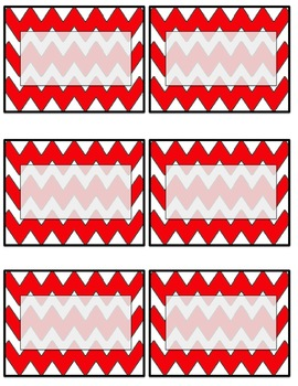 EDITABLE red chevron name tags or labels