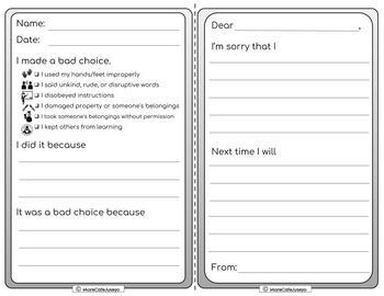 EDITABLE Reflect and Restore sheets Restorative Practices for PreK to 8