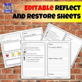 EDITABLE Reflect and Restore sheets Restorative Practices