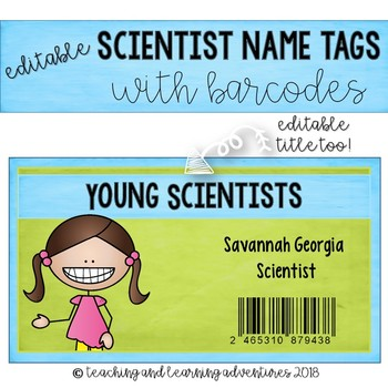EDITABLE scientist name tags with barcode
