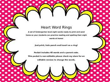 EDITABLE sight word ring set