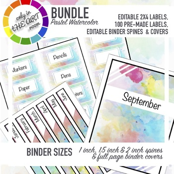picture regarding Printable Binder Labels titled EDITABLE watercolor labels package, binder labels printable labels 10 for every web page