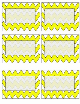 EDITABLE yellow chevron name tags or labels